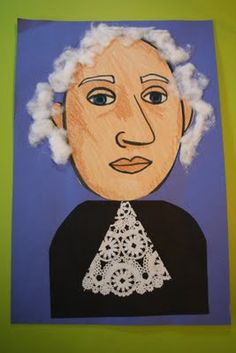 Presidents Day - George Washington Portrait (Starting with a large oval (egg) for the face, we would draw two footballs for eyes. Add circles for the pupils and irises. A big nose. Straight line for the mouth.Then a little smile underneath (bottom lip) and two mountains on top (top lip) Don't forget eyebrows and ears!)