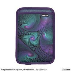 Purple meets Turquoise, abstract Fractal Art Sleeve For iPad Mini