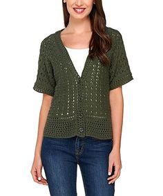 Look what I found on #zulily! Dark Olive Crochet Cardigan - Plus Too #zulilyfinds