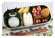 Totoro bento - - inspiration for my skinny box (if I can ever find it again. where the heck is it! Cute Bento Boxes, Bento Box Lunch, Bento Lunchbox, Totoro, Cute Food, Yummy Food, Japanese Street Food, Bento Recipes, Food Humor