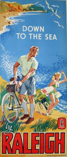 Down to the Sea by Raleigh, 1950s - original vintage poster listed on AntikBar.co.uk