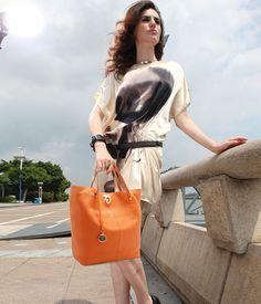 Bright Orange Calfskin Ladylike Shoulder Bag
