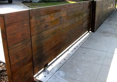 wood driveway automatic gate - los angeles