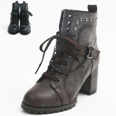 Womens Ankle Strap Mid-Calf Lace up Combat Boots Shoes Military High Heels J606
