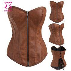 Brown Leather Corset Overbust Steampunk Corsets Zipper Waist Trainer Sexy Korsett Women Espartilho Corpete Corset Espartilho