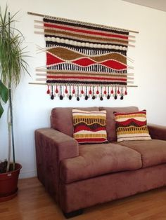 stripes and waves Weaving Projects, Weaving Art, Tapestry Weaving, Loom Weaving, Hand Weaving, Hanging Bathroom Shelves, Art Textile, Textiles, Macrame Patterns