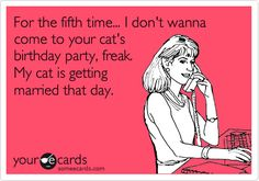 Funny Cry for Help Ecard: For the fifth time... I don't wanna come to your cat's birthday party, freak. My cat is getting married that day. HAHAH!