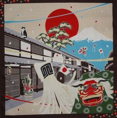Furoshiki 'Tama on New Year's Day' Japanese Fabric #CatNames
