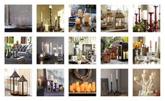 Candles set the mood. Great food, Great wine and great candles...your set for the holidays. 1. West Elm 2. Pottery Barn 3. Serena & Lily 4. Williams-Sonoma 5. Pottery Barn 6. Arhaus Furniture 7. Crate and Barrel 8. Pier 1 Imports 9. Pier 1 Imports 10. Ballard Designs 11. Ballard Designs 12. Crate and Barrel 13. Restoration Hardware 14. West Elm 15. VivaTerra