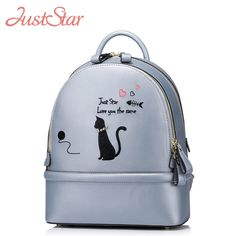 53.47$  Watch now  - JUST STAR Women Backpack Female Ladies PU Leather Cartoon Cat Rivet Daily Travel Shoulder Bags Girl's Brand School Bags JZ4160
