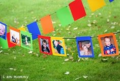 Photo Banner - would be cute for a graduation party to show their growth! I couldn't find the original photo on the link but it looks easy enough to duplicate with brightly colored construction paper.