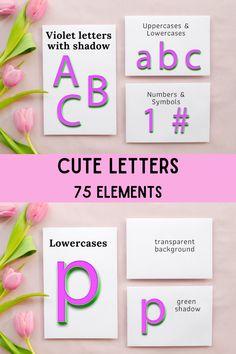 Purple Alphabet, Cute Letters, Sparkle, Uppercase And Lowercase, Violet, Graphic Illustration, Symbols, Scrapbook, Graphics