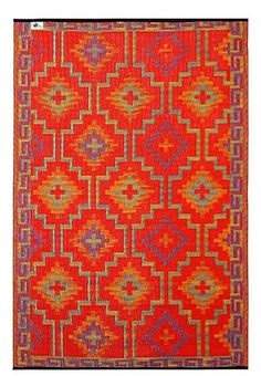 Fab Habitat 5ft x 8ft Lhasa Outdoor Rug, Orange & Violet | Free Shipping  78.99