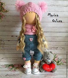 Купить Кукла текстильная интерьерная ручная работа - розовый, кукла ручной работы, кукла
