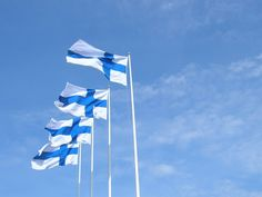 Flag of Finland. The Finnish flag is to be raised at 8am and lowered at sunset (no later than 9pm). The white in the Finnish flag represents snow, peace, and honesty. The blue represents lakes, sky, vigilance, truth, loyalty, perseverance & justice.