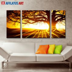 AFFLATUS Landscape Canvas Painting Nordic Classic Atmospheric Sunrise Wall Art Painting Wall Pictures For Living Room Home Decor #Affiliate