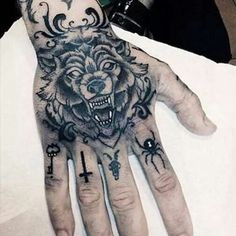 Wolf Tattoo Design on Hand #NeatTattoosIWouldHave