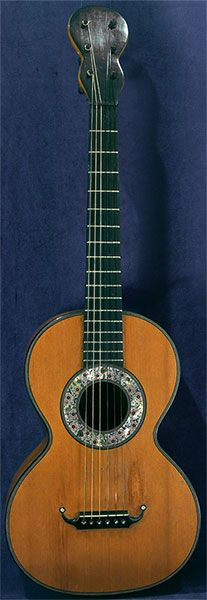 Early Musical Instruments, antique Romantic Guitar by Dubois around 1830
