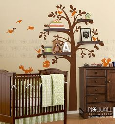Shelving Tree with Birds & Squirrels birdhouse Wall by NouWall