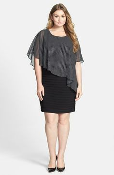 Adrianna Papell Dot Print Capelet Banded Sheath Dress (Plus Size) | Nordstrom
