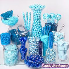 Ideas Baby Shower Food Blue Candy Table For 2019 Schneemann Party, Blue Candy Buffet, Lolly Buffet, Bar A Bonbon, Mint Candy, Purple Candy, Yellow Candy, Wedding Candy, Wedding Favors