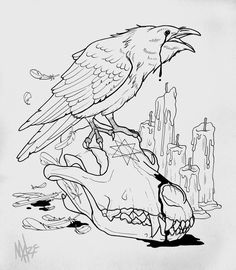 I seriously am into the color styles, outlines, and linework. This really is a good concept if you want inspiration for a Stencils Tatuagem, Tattoo Stencils, Tattoo Sketches, Tattoo Drawings, Art Sketches, Raven And Wolf, Wolf Skull, Dark Art Drawings, Raven Tattoo