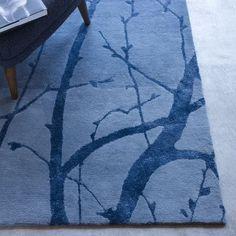Moonlight Branches Rug - Blue Lagoon   West Elm