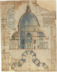 Lodovico Cardi detto il Cigoli (Cigoli di San Miniato, 1559 – Roma, 1613).Disegno della cattedrale di Santa Maria del Fiore (Duomo di Firenze)