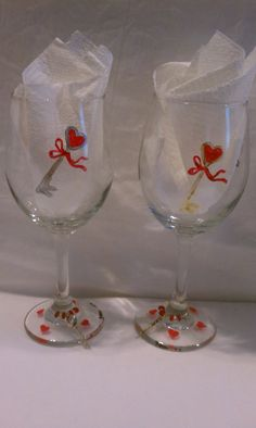 Hand Painted Valentines Day Wine Glasses