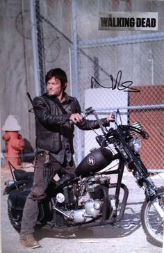The Walking Dead Daryl Dixon actor Norman Reedus SIGNED 11x17 Photograph On Motorcycle Outside Priso @ niftywarehouse.com