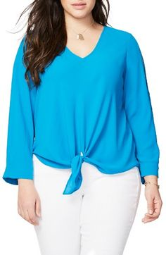 Free shipping and returns on Rachel Roy Tie Front Blouse (Plus Size) at Nordstrom.com. Slit sleeves and a casually tied hem create an effortless look on a fluid V-neck blouse in your choice of spirit-brightening colors.
