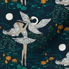 Lake Tattoo, Fairy Paintings, Flightless Bird, Ballerina Doll, Swan Lake, Custom Fabric, Art Inspo, Spoonflower, Storytelling