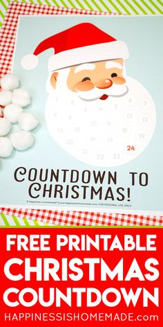 Santa Christmas Countdown Printable - Get the whole family ready for Santas arrival with this fun Santa Christmas countdown calendar printable! Countdown the days until Christmas with this cute advent activity thats fun for the entire family! Christmas Words, Easy Christmas Crafts, Santa Christmas, All Things Christmas, Family Christmas, Christmas Ideas, Christmas Inspiration, Christmas Cookies, Holiday Ideas