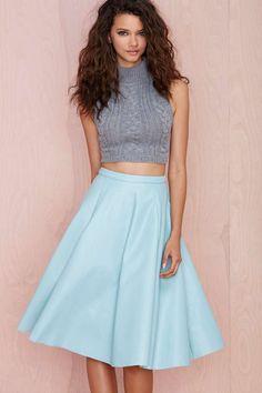 Tara Faux Leather Midi Skirt
