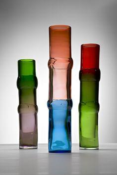 Bamboo coloured glass vases | designer Oiva Toikka (born Finland, 1931).