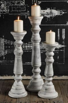 New Shabby French Country Chic Wood Pillar Candle Holders Set Of 3 White