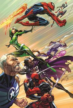 Uncanny Avengers #1 variant cover by J. Scott Campbell, colours by Nei Ruffino *