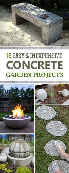 15 Easy and Inexpensive DIY Concrete Garden Projects - DIY Garden Decor Diy Garden Furniture, Concrete Furniture, Diy Garden Projects, Diy Garden Decor, Outdoor Projects, Garden Art, Furniture Ideas, Outdoor Furniture, Furniture Nyc