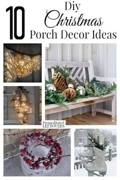 10 DIY Christmas Porch Decorating Ideas- These homemade porch decorations will inspire you to get a running start on your outdoor decorating this Christmas. Decoration Christmas, Christmas Porch, All Things Christmas, Christmas Holidays, Christmas Wreaths, Christmas Crafts, Christmas Ornaments, Holiday Decor, Christmas Ideas
