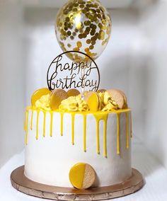 Yellow lemon drip ca Lemon Birthday Cakes, Yellow Birthday Cakes, 14th Birthday Cakes, Cake Cookies, Cupcake Cakes, Balloon Cake, Birthday Cake Decorating, Pumpkin Spice Cupcakes, Drip Cakes