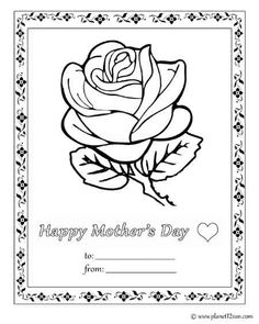 Free printable black & white worksheet. Happy Mother's Day card. Color the picture.