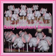 Baby elephant theme. Perfect for a baby shower party favors or treats! www.chiweescakepops.com