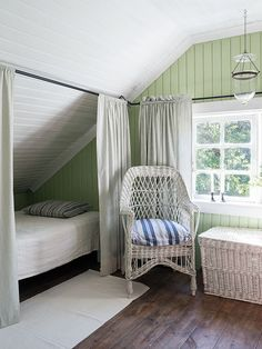 I've always like curtained-off sleeping areas. Reminds me of castles in Scotland. via Made In Persbo