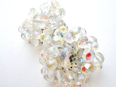 Ab Crystal Earrings Bead Clip Aurora by TheJewelryLadysStore