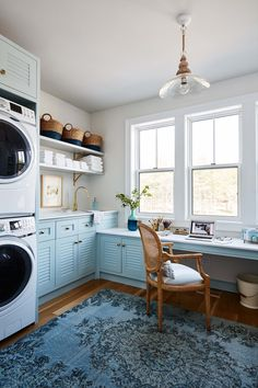 The Laundry Room with Home Office in shades of blue, as seen on HGTV Canada's Sarah off the Grid, by Sarah Richardson Design. Photography by Stacey Brandford. Laundry Craft Rooms, Laundry Room Remodel, Farmhouse Laundry Room, Laundry Room Organization, Laundry Room Design, Organization Ideas, Laundry Decor, Laundry Room Rugs, Farmhouse Cabinets