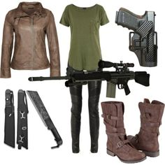 this will be my zombie apocalypse outfit.......i have the boots shirt and guns, all i need is the leather pants and leather jacket and some knifes lol :)