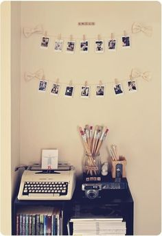 Picture Display - A fun and easy way to display photos or your favorite mementos is to hang them with some clothespins. It's cute and much less expensive than picture frames.