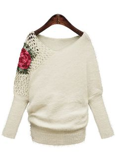White Flowers Embroidery V-neck Bat Sleeve Knit Sweater