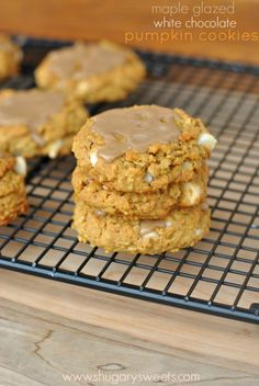 Chewy Pumpkin Oatmeal Cookies with White Chocolate Morsels and Maple Glaze @Shugary Sweets