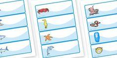 Editable Drawer - Peg - Name Labels (Sea Creatures) - Sea creature Label Templates, under the sea, Resource Labels, Name Labels, Editable La...